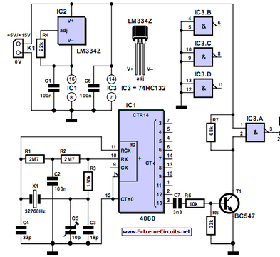 Thrifty 2Hz Clock - schematic