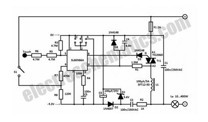 Touch Sensitive Light Dimmer - schematic