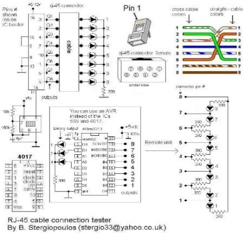 Attiny2313 based LAN cable tester - schematic