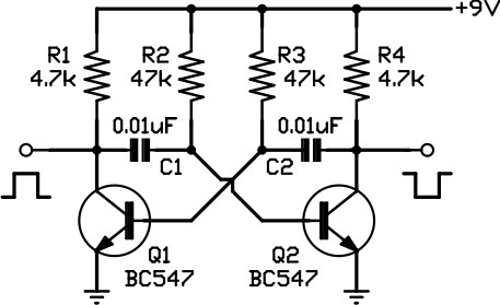 Two-phase squarewave oscillator - schematic