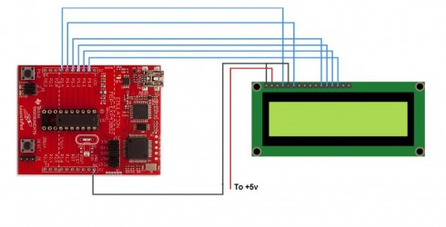 Launchpad plus LCD equals serial terminal - schematic