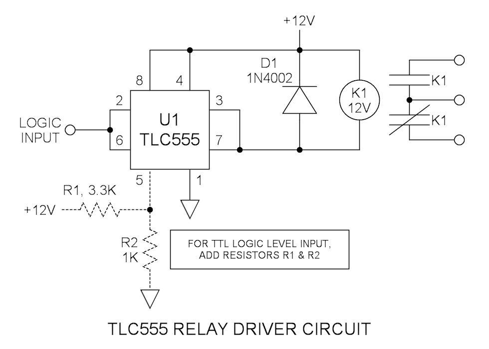 555 (TLC555) Relay Driver Circuit - schematic