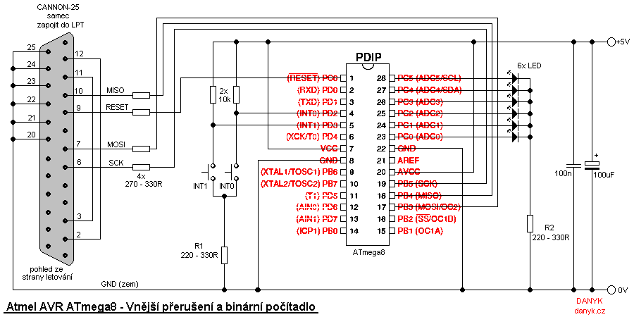 AVR Interrupts and binary counter - schematic