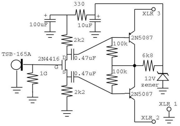 condenser microphone circuit diagram