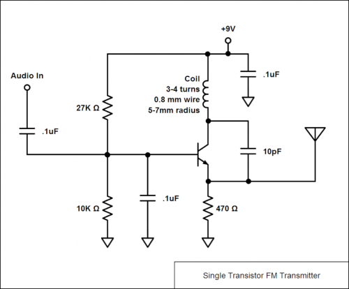 Single Transistor FM Transmitter - schematic
