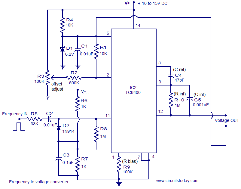 Frequency to voltage converter - schematic