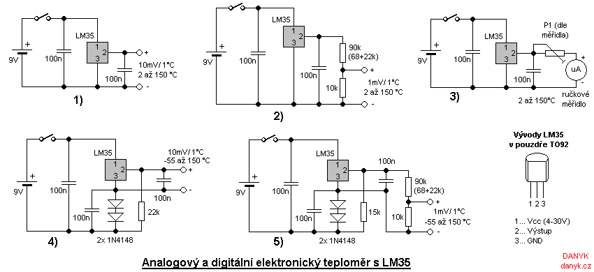 Analog and digital electronic thermometer with LM35 - schematic