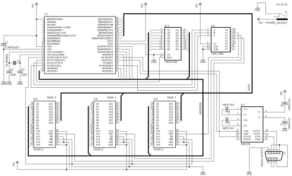 Extending the RAM memory of a PIC microcontroller - schematic