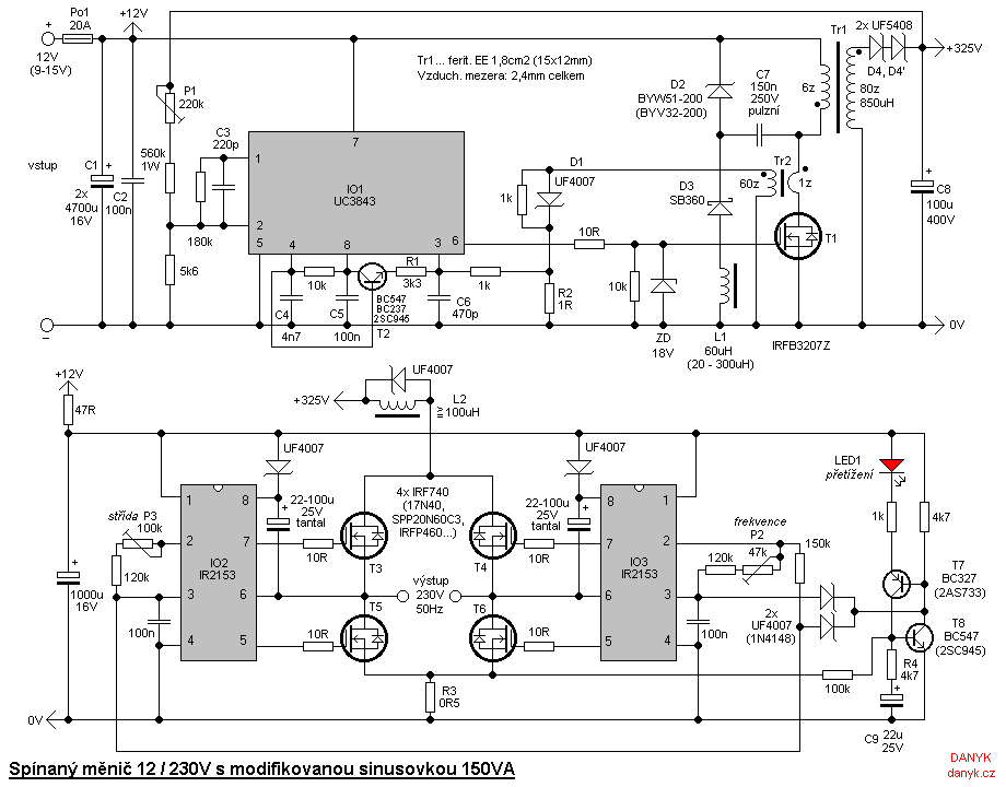 Switching (transformerless) DC/AC 12V/230V 150W modified sine wave inverter - schematic