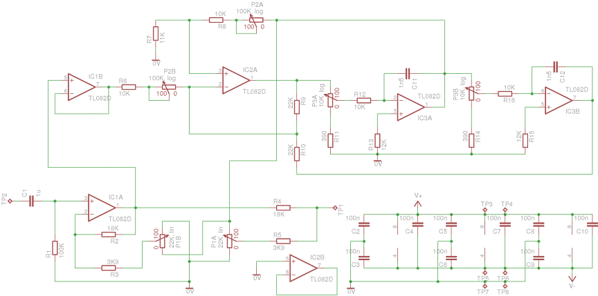 parametric equalizer on an audio-mixer-sized PCB - schematic