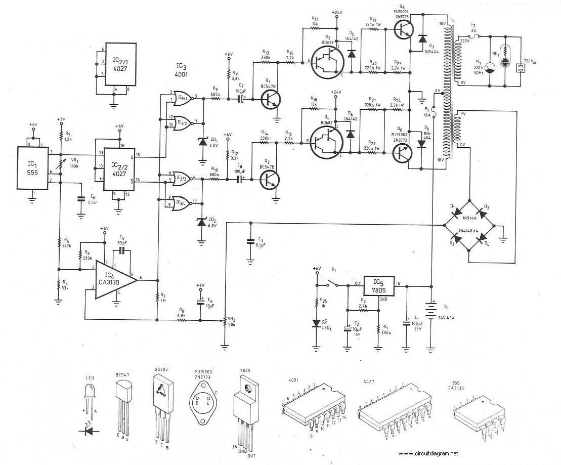 300Watt Inverter DC 24V to AC 220V - schematic