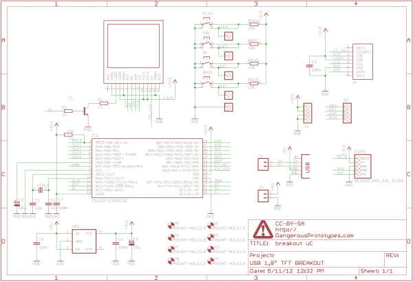 TFT display with USB interface - schematic
