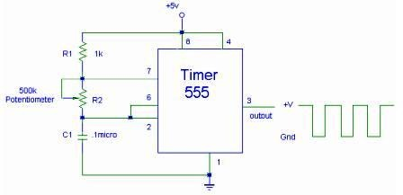 555 Timer IC for Square Wave Generator Application - schematic