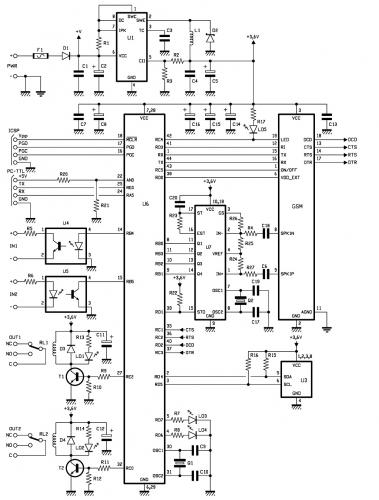 GSM Remote Control 2 IN and 2 OUT DTMF - schematic