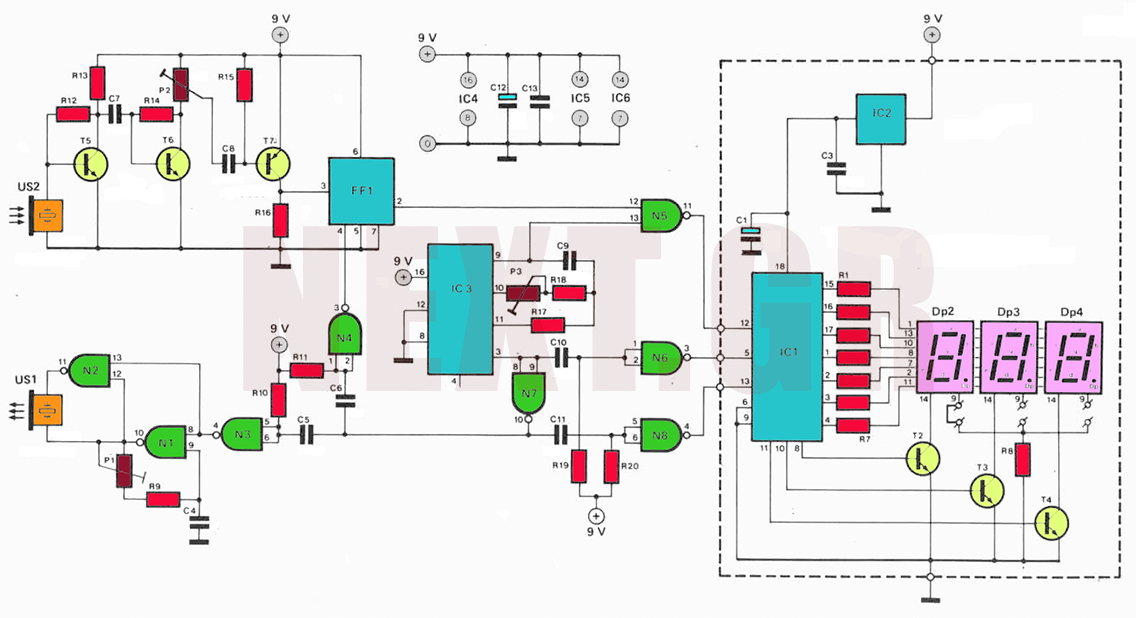 Ultrasonic distance finder circuit - schematic