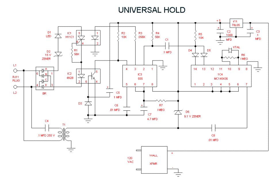 Telephone Hold Line - schematic