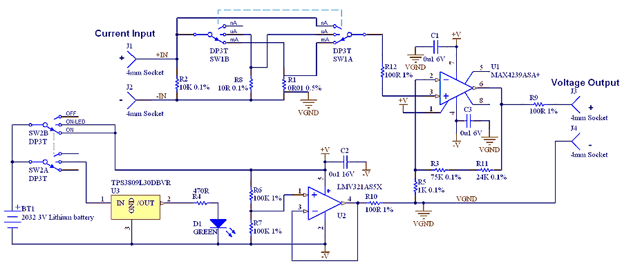 µCurrent Adaptor for multimeters - schematic