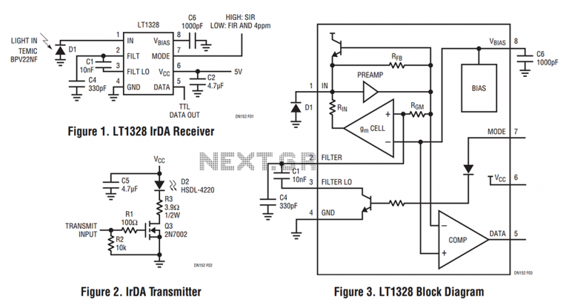 A Low Cost 4Mbps IrDA Receiver - schematic