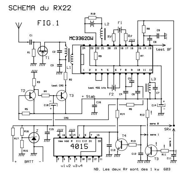 41-72MHz micro-receiver ( MC3362 ) - schematic.