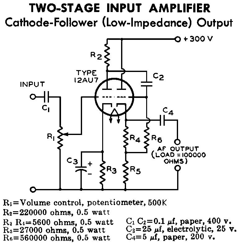 12AU7 (ECC82) Cathode Follower Tube Preamplifier Schematic - schematic