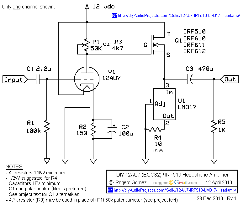 12au7 Preamp Schematic | Wiring Diagram