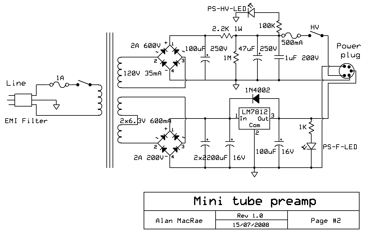 Audio Preamplifiers Circuits Page 4 Fi Ipod Amplifier Circuit Using Ic 741 Electronic Projects 12au7 12ax7 Tube Preamplifier Power Supply Schematic