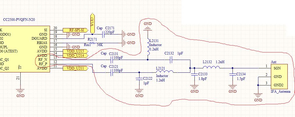 IFA Antenna matching for CC2500 - schematic