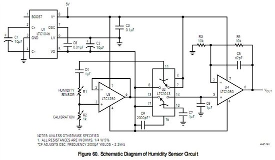 Interfacing MSP430 to analog AC-rated humitidy resistive sensor HCZ-H8 - schematic