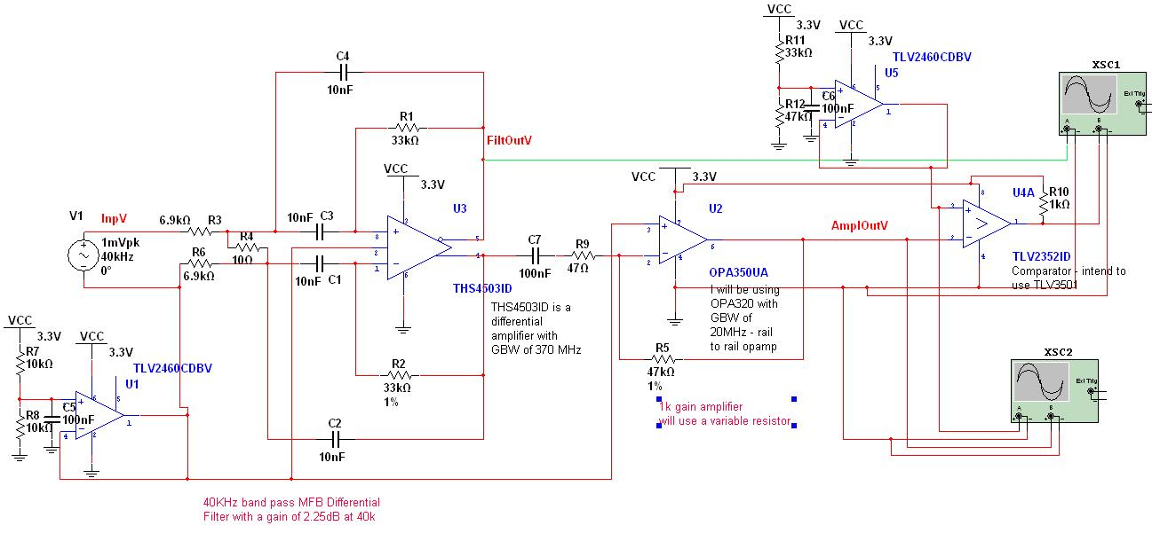 Circuit for ultrasonic threshold detection - schematic
