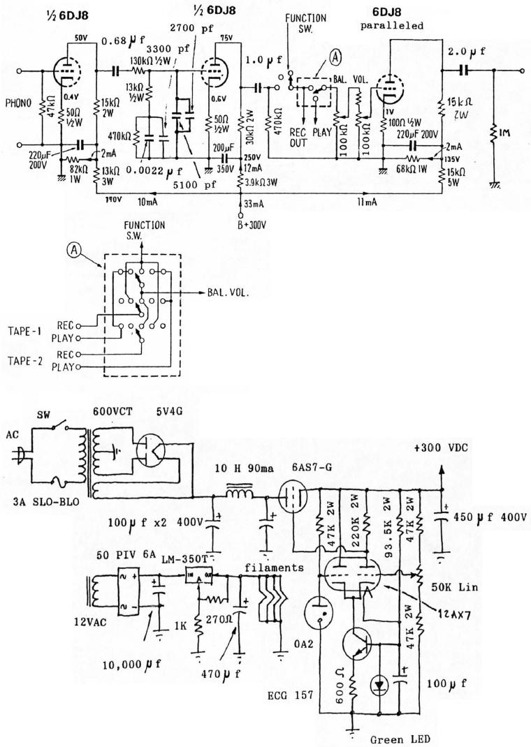 Audio Preamplifiers Circuits Page 4 Automatic Gain Control Preamplifier Circuit Diagram 6dj8 Tube Riaa Phono And Line Schematic