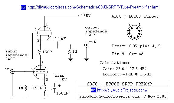 circuits > 6DJ8 ECC88 Symmetrical SRPP Tube Preamplifier Schematic