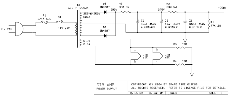 DIY 6T9 Tube (Valve) Single-Ended Amplifier Kit - schematic