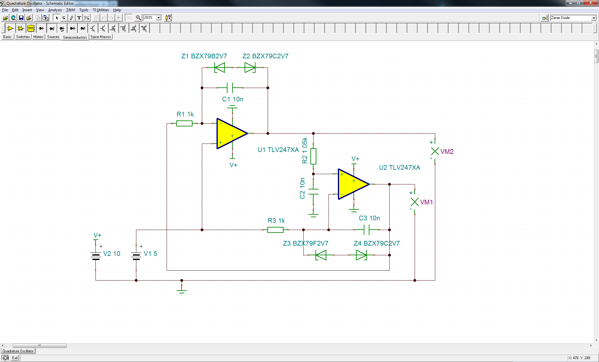 Quadrature Oscillator with TLV2474 - schematic
