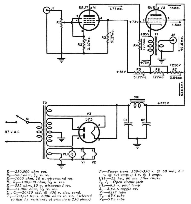 audio amplifier circuit page 14 audio circuits next gr tube amplifier circuit a direct coupled amplifier with cathode follower by raymond h bates