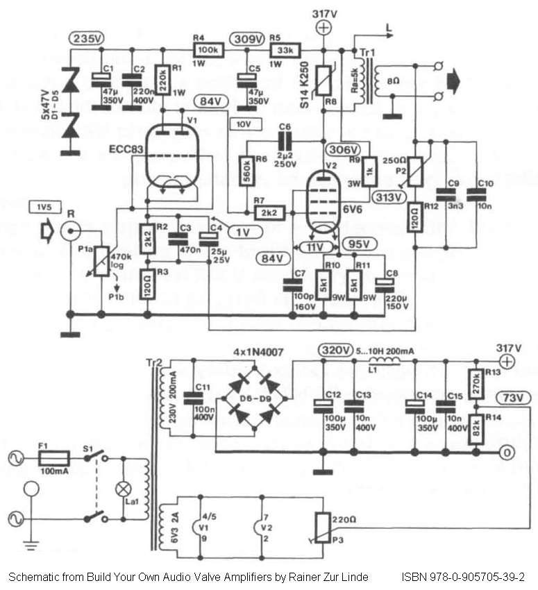 Direct-coupled Single-Ended (SE) 6V6 / 6V6GT Tube Amplifier Schematic