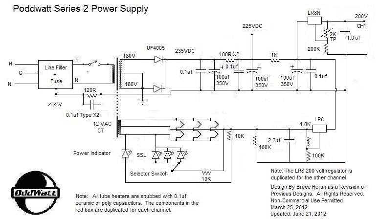 Poddwatt: Class-A Stereo Push-Pull EL84 (6BQ5) Vacuum Tube Amplifier - schematic