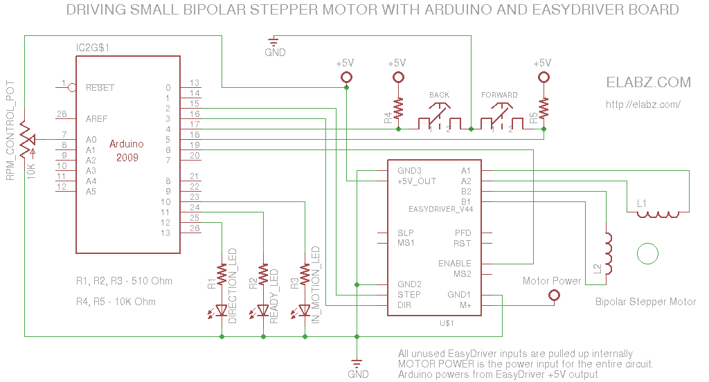 Manually controlling bipolar stepper motor with Arduino and EasyDriver - schematic