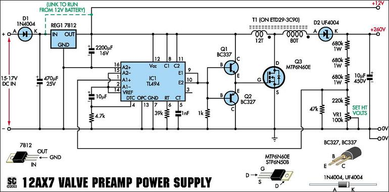 preamp circuit - schematic