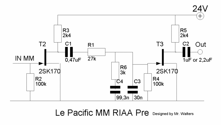 Le Pacific JFET Phono Preamp for MM and MC Cartridges - schematic