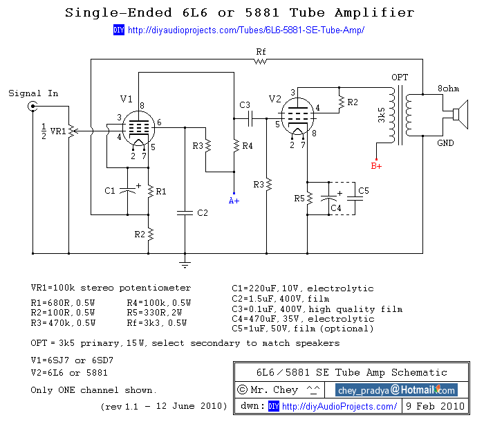 Tube Amp Schematics - 365 Diagrams Online Valve Amp Schematics on