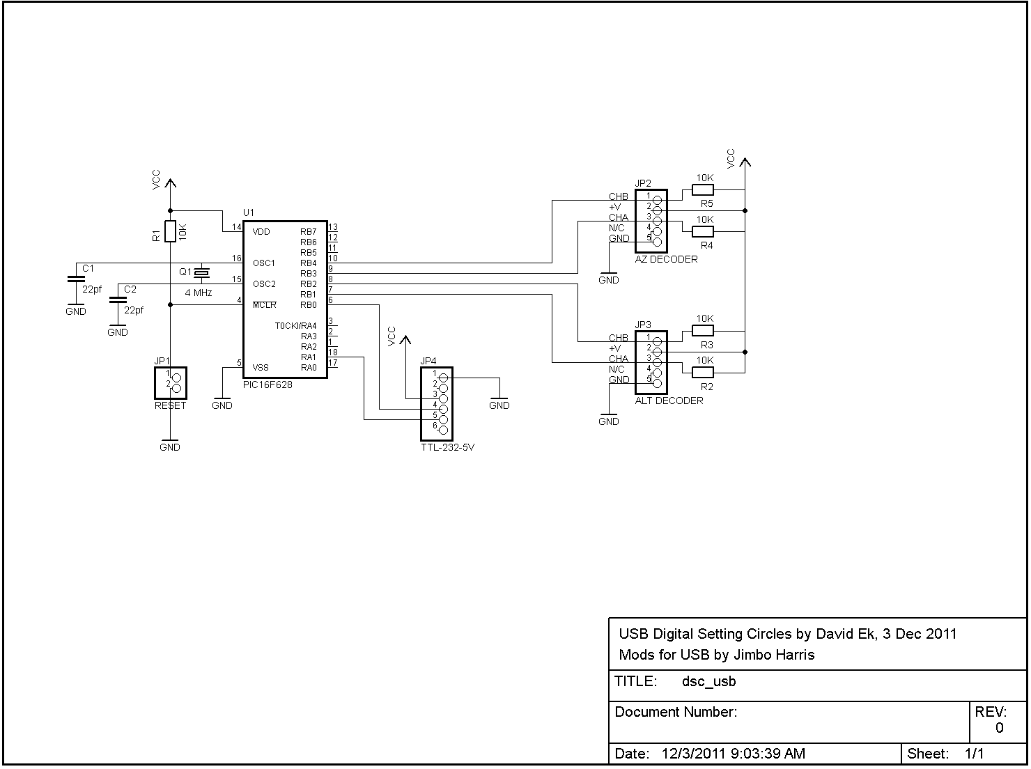 USB Digital Setting Circles - schematic