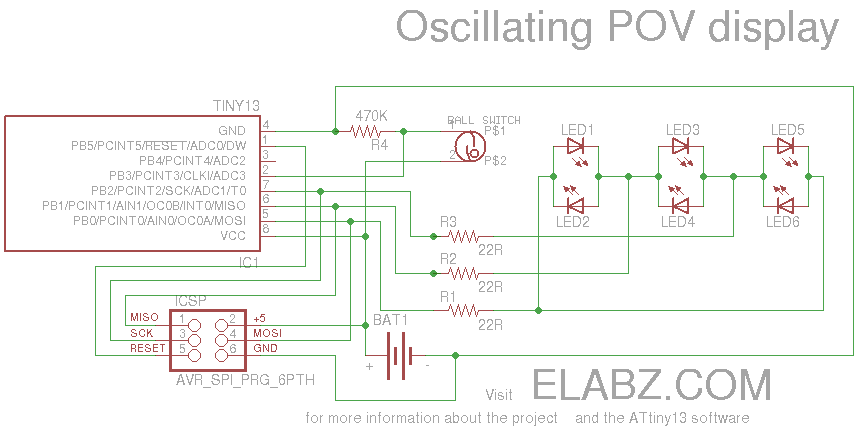 Valentines Day POV display using ATtiny13 and Arduino IDE - schematic