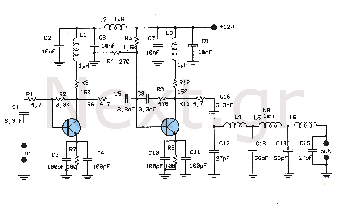 Rf Amplifier Circuit Circuits This Simple Schematic Shows A 140w Audio Power By Fm Linear 400mw