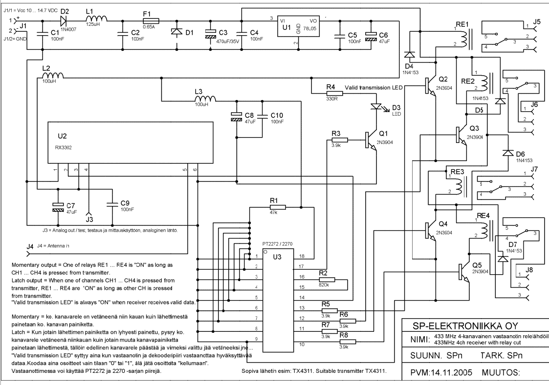 433 MHz 4-ch receiver with relay output transmitter - schematic