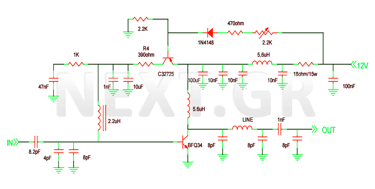 VHF-UHF Linear Amplifier Circuit - schematic