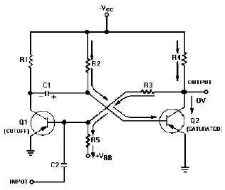 Monostable multivibrator schematic - schematic