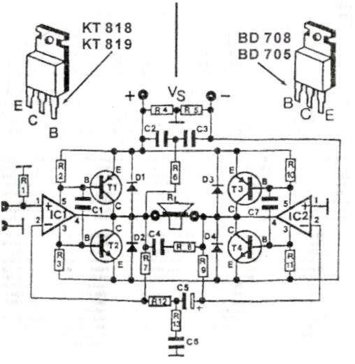 200W Transistor Audio Amplifier Circuit - schematic