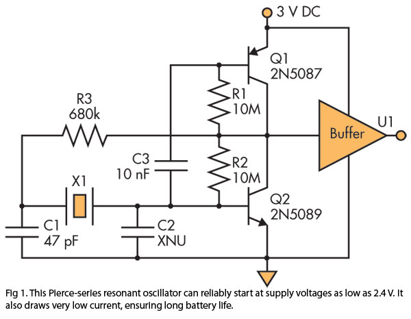 crystal oscillator features low current low startup voltage