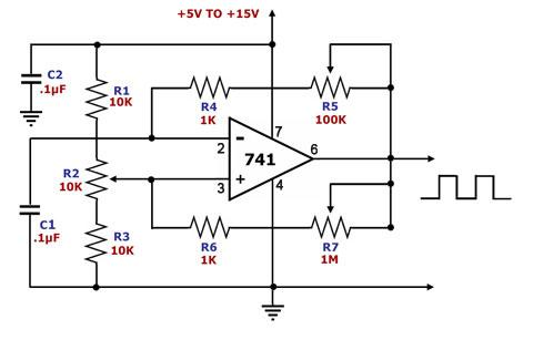 op amp square wave generator - schematic