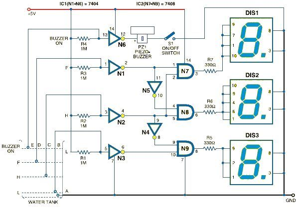 water level indicator using 7 segment display - schematic